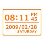 デジタル時計 フラット オレンジ